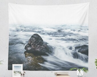 Caribbean Sea Wall Tapestry, coastal tapestry, nautical dorm and bedroom decor and living room decor making a statement. Large wall art.