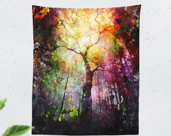 Colorful Forest Tapestry, tree wall tapestry, tall wall art and wall decor making a dorm tapestry,  bedroom tapestry statement. Dorm decor.