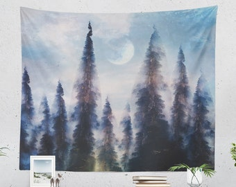 Abstract Forest Tapestry, nature tapestry, artsy wall decor making a unique dorm and bedroom decor and living room decor statement.