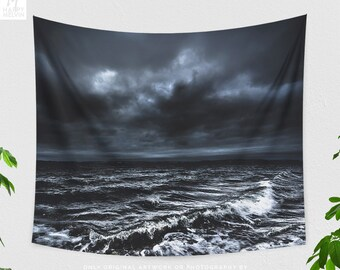 Moody Ocean Tapestry, powerful dorm wall decor, large ocean bedroom wall hanging,nautical living room wall art