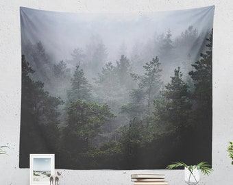 Moody And Foggy Woods Tapestry, large dorm wall decor, misty forest wall hanging, serene bedroom wall art, boho wanderlust living room decor