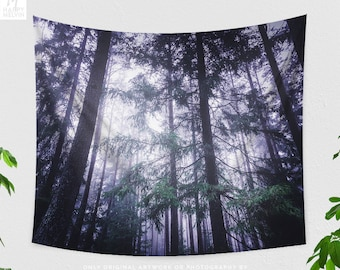 Forest Lights Tapestry, nature tapestry, dreamy dorm and bedroom decor and boho living room decor making a statement.