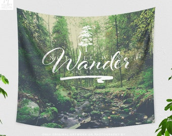 Wanderlust Quote Tapestry, large dorm nature wall hanging, forest bedroom and living room wall decor and wall art