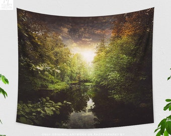 Magical River Tapestry, nature tapestry and wall art, dreamy dorm and bedroom tapestry and wall decor making a statement.
