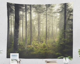 Spiritual Forest Tapestry, magical woods wall hanging, large dorm nature wall decor, wanderlust bedroom and living room decor.