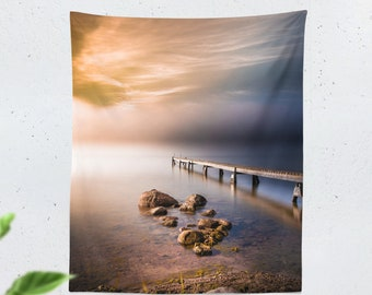 Tall Nature Tapestry, colorful wall tapestry, wanderlust wall decor making a unique dorm and bedroom tapestry statement.