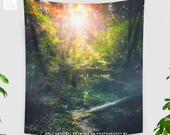 Forest Sunshine Wall Tapestry, tall nature wall hanging, wanderlust dorm and living room wall decor, large bedroom wall art