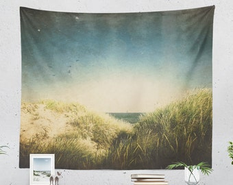 Vintage Beach Wall Tapestry, bedroom nature wall decor, summer dorm and bedroom wall hanging, large rustic wall art