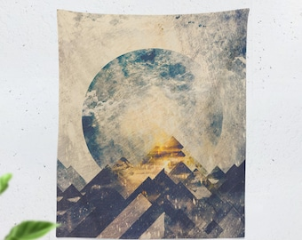 Abstract Mountain Wall Tapestry, boho dorm wall hanging, wanderlust art living room and bedroom wall decor and wall art