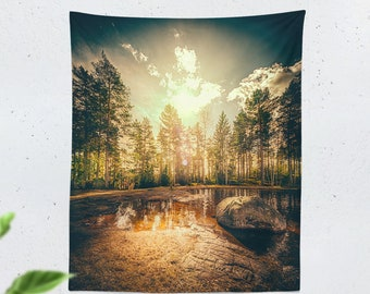 Tall Forest Tapestry, trees wall tapestry, large wall art and wall decor making a dorm tapestry,  bedroom tapestry statement.
