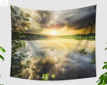 Colorful Nature Tapestry, large landscape wall hanging, lake dorm wall decor, landscape wanderlust bedroom and living room wall art
