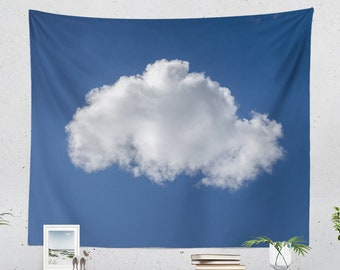 Cloud Wall Tapestry, boho living room wall decor, dorm and bedroom wall hanging.