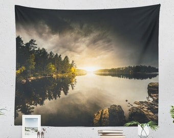 Colorful Nature Tapestry, wanderlust dorm wall hanging, large bedroom wall decor, lake landscape living room wall art and wall decor