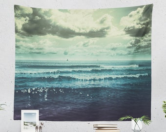 Rustic Ocean Tapestry, summer wall hanging and wave wall tapestry, large wall decor and wall art making a unique dorm and bedroom statement.
