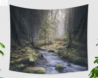 Forest River Wall Tapestry, nature tapestry, wanderlust living room and dorm wall hanging, large bedroom wall decor, adventure wall art.