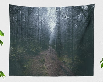 Dark Forest Path Tapestry, nature tapestry, dorm and bedroom decor and living room decor making a spooky & dreamy statement.