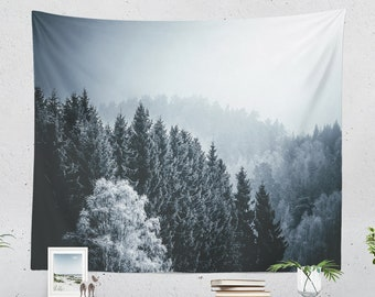 Cold Woods Wall Tapestry, pine trees tapestry, forest dorm and bedroom decor and living room decor making a statement. Large wall art.