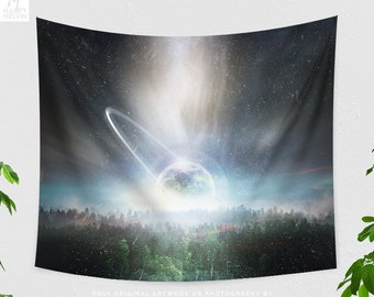 Moon Wall Tapestry, cool dorm wall decor, nature art bedroom wall hanging, space living room wall art