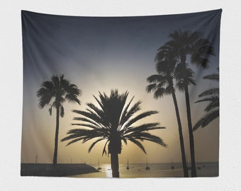 Tropical Dorm Wall Tapestry, palm trees wall hanging, colorful sunset bedroom wall art, large travel living room wall decor