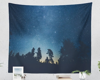 Starry Forest Wall Tapestry, pure wanderlust dorm wall hanging, boho bedroom wall decor, large colorful living room decor