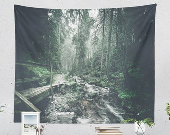 Wanderlust Woods Tapestry, forest bedroom wall hanging, large nature living room wall decor, adventure wall art