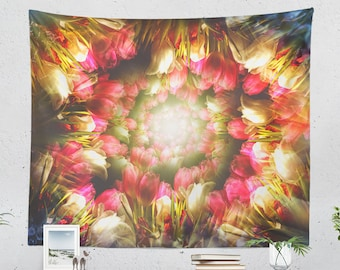 Flower Art Tapestry, colorful wall tapestry, large floral wall decor and wall art, boho dorm room and bedroom wall hanging.