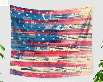 American Flag Tapestry, USA flag tapestry, dorm and bedroom wall hanging, large united states living room wall decor and wall art.