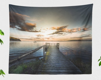 Sailing Wall Tapestry, ocean tapestry, large nautical wall decor and wall art making a colorful dorm and bedroom and home decor statement.