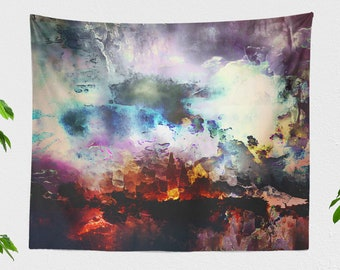 Modern Art Wall Tapestry, large abstract dorm wall hanging, artsy bedroom wall decor, bohemian living room decor