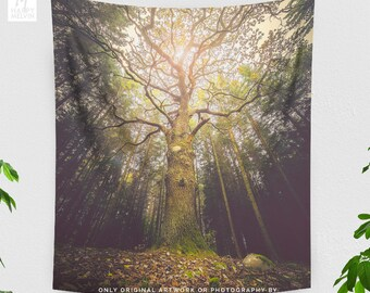 Magical Tree Tapestry, nature wall tapestry, large dorm wall art and wall decor, wanderlust living room and bedroom wall hanging