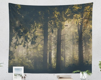 Evergreen Forest Tapestry, magical woods wall hanging, large nature dorm wall decor, nature loving bedroom decor, boho living room wall art