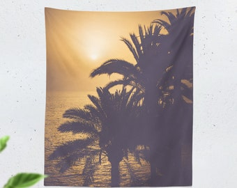 Golden Sunset Tapestry, tall dorm tropical wall decor, bedroom palm trees wall hanging, large living room wall art