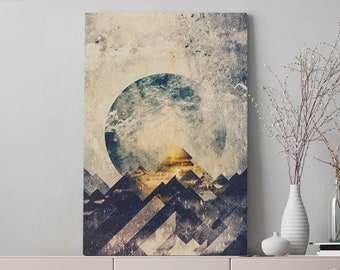 One Mountain Canvas Art, abstract wall art and wall decor, ready to hang gallery wrap canvas, modern home decor making a statement.