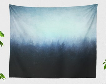 Grungy Forest Tapestry, minimalist nature wall hanging, unique dorm wall decor, artsy wanderlust bedroom wall art, large living room decor