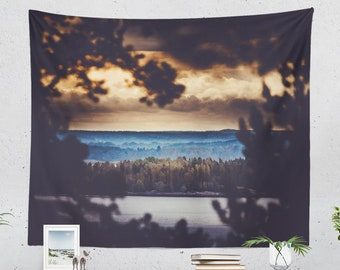 Magical Nature Wall Tapestry, wanderlust wall hanging, large wall decor and wall art making a unique dorm and living room decor statement.
