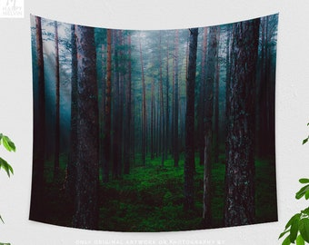 Fog Forest Wall Tapestry, dark woods wall hanging, boho dorm wall decor, enchanted woods wall art, boho living room decor, large bedroom art