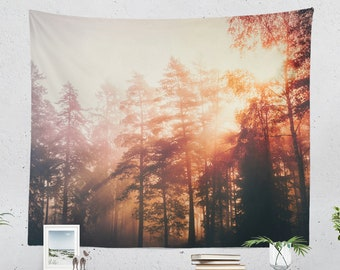 Lovely Forest Tapestry, dreamy dorm wall hanging, colorful sunshine in woods wall decor, large living room wall art, nature bedroom art