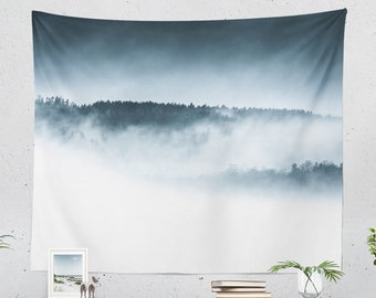 Foggy Mountain Tapestry, landscape wall tapestry, minimalist wall art and nature wall decor making a unique dorm and home decor statement.