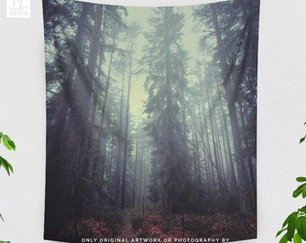 Dorm Wanderlust Tapestry, tall forest wall hanging, woods living room wall decor, nature bedroom wall art