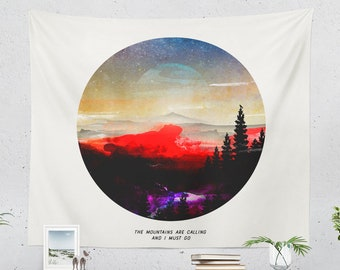 Wanderlust Wall Tapestry, colorful dorm wall hanging, nature art living room wall decor, large bedroom wall art
