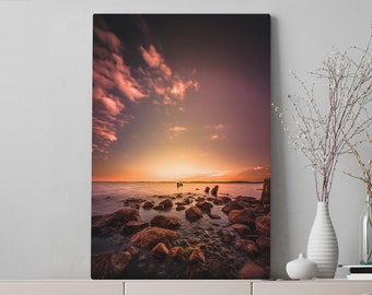 Colorful Ocean Canvas Art, sea wall art and wall decor, ready to hang gallery wrap canvas, modern home decor making a statement.