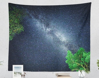 Starry Night Bedroom Tapestry, wanderlust dorm wall decor, colorful space living room wall hangingmand wall art
