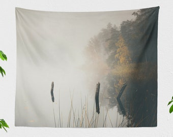 Serene Nature Scenery Wall Tapestry, magical and foggy lake wall hangin, large dorm wall decor, boho living room and bedroom wall art
