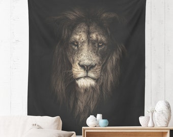 Lion Tapestry, tall lion wall tapestry, large dorm wall decor making a powerful statement, animal bedroom and living room wall hanging.