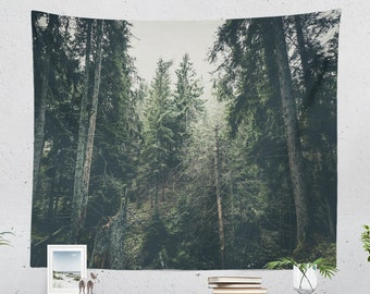 Dark Pine Forest Tapestry, nature wall tapestry, large wanderlust wall decor and wall art making a unique dorm and home decor statement.