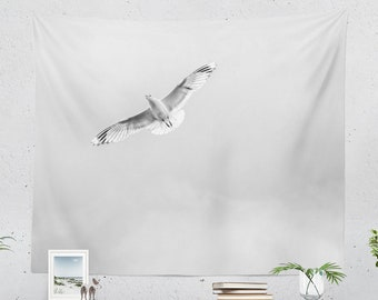 Minimalist Wall Tapestry, large free spirit wall art, bird tapestries, dorm and bedroom wall decor, large tranquil living room decor