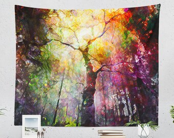 Epic Forest  Tapestry, colorful dorm wall hanging, large nature art wall decor, boho living room wall art, unique bedroom wall decor
