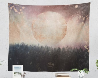 Wanderlust Art Tapestry, dreamy dorm nature wall hanging, bohemian living room wall decor, spiritual bedroom wall art