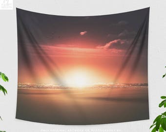 Beach Sunset Tapestry, bedroom wall tapestry, colorful dorm and living room wall hanging, summer wall art and wall decor