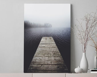 Lake Canvas Art, nature wall art and wall decor, ready to hang gallery wrap canvas, modern home decor making a statement.